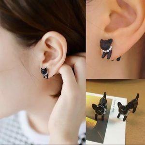 ❤️ Pair of super cute earrings black cat dog pet